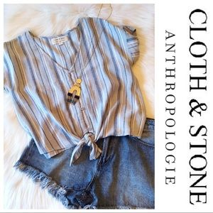 Tie Front Button Down Short Sleeve Top
